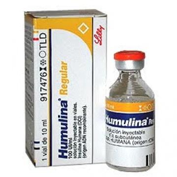 Insulina regular en vial 10 mL (100 UI/mL)