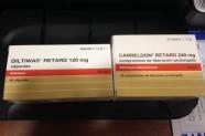 Diltiwas Retard 120 mg (Diltiazem) & Carreldon Retard 240 mg (Diltiazem) [Lab. Chiesi]