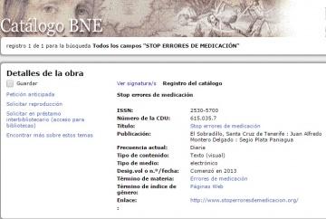 Catálogo BNE STOP Errores de Medicación